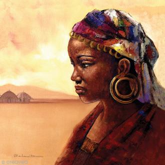 Image 3D Divers - Portrait femme africaine - 30 x 30 cm