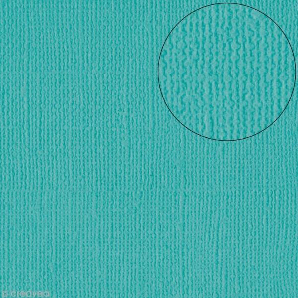 Papier scrapbooking Bazzill 30 x 30 cm - Texture - Capri Sea (bleu mer Capri) - Photo n°1