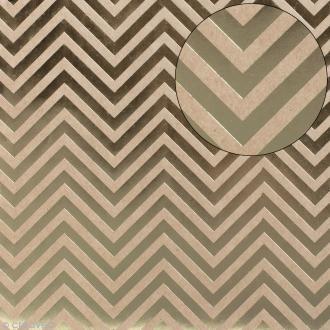 Papier scrapbooking Bazzill 30 x 30 cm - Kraft métallisé - Chevrons
