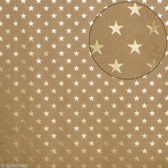 Papier scrapbooking Bazzill 30 x 30 cm - Kraft métallisé - Etoiles