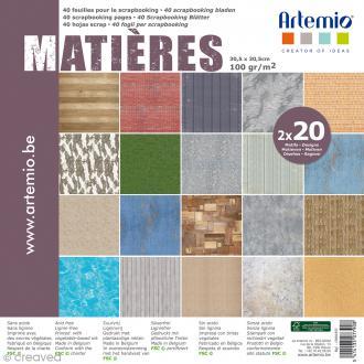 Papier Scrapbooking Artemio - Matières - 30,5 x 30,5 cm - 40 feuilles
