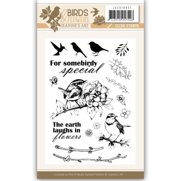 Tampon clear Jeanine's Art - Birds and Flowers N°21 - 17 pcs - Photo n°1