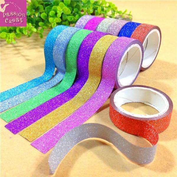 10 Rouleau Washi Tape Ruban Adhésif Paillette Multicolore 15mm - Photo n°1