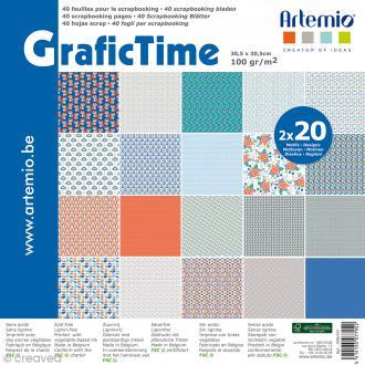 Papier Scrapbooking Artemio - Graphic Time - 30,5 x 30,5 cm - 40 feuilles