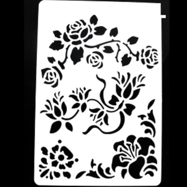 POCHOIR PLASTIQUE 30*21cm : voluptes de roses et pensées - Photo n°1