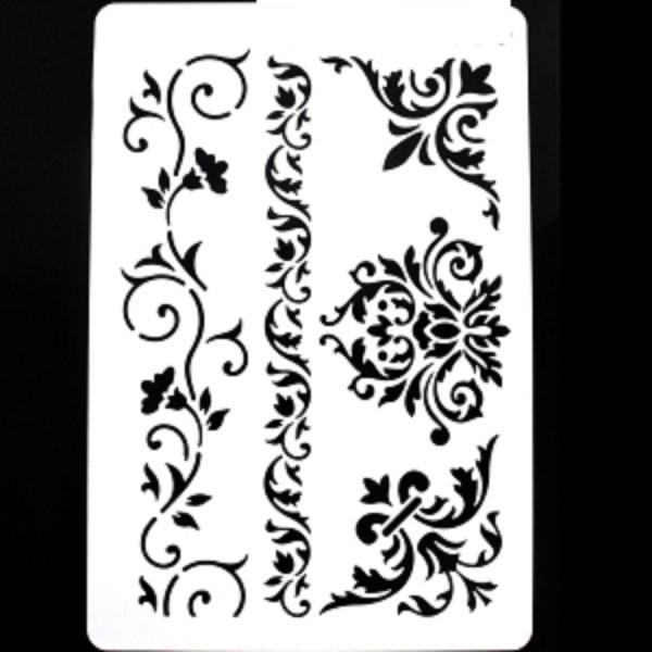 POCHOIR PLASTIQUE 30*21cm : Frises, angles et fleurs baroques - Photo n°1