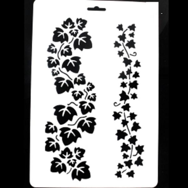 POCHOIR PLASTIQUE 30*21cm : 2 frises de feuilles de lièrres - Photo n°1