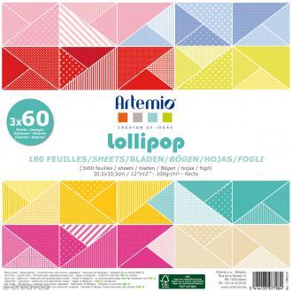 Papier Scrapbooking Artemio - Lollipop - 30,5 x 30,5 cm - 180 feuilles