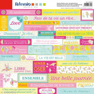 Stickers Artemio - Freedom - 1 planche de 30,5 x 30,5 cm