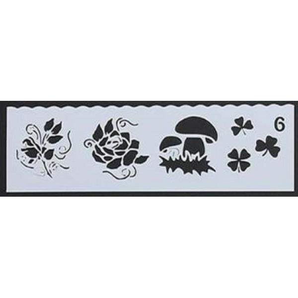 POCHOIR PLASTIQUE 19*6cm : trèfle, champignon et fleurs - Photo n°1