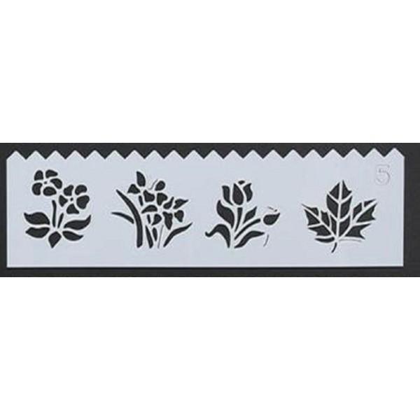 POCHOIR PLASTIQUE 19*6cm : feuille et fleurs - Photo n°1