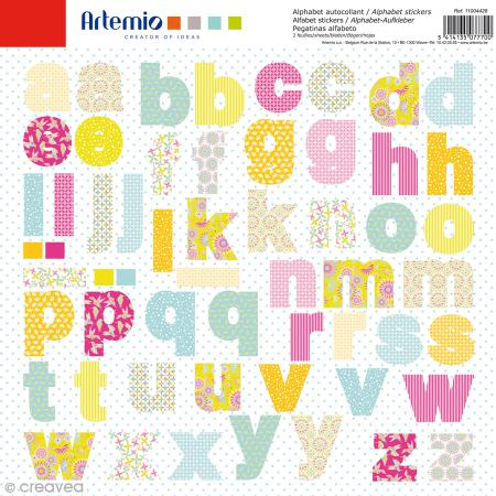 Stickers Alphabet Artemio - Freedom - 2 planches de 30,5 x 30,5 cm - 100 pcs - Photo n°1