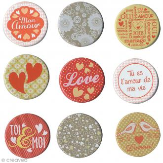 Attaches parisiennes Love - 2,5 cm - 9 pcs