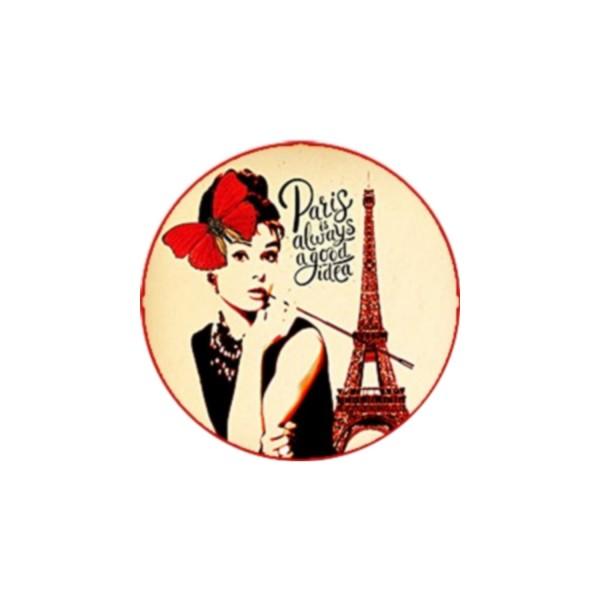 1 Cabochon 30 mm, Verre Rond, Collection Paris For Ever, Audrey H. - Photo n°1