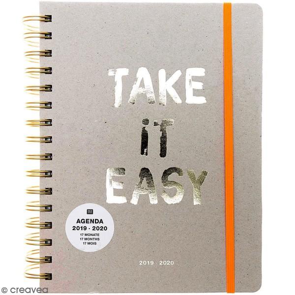 Agenda à spirales 2019 / 2020 - Take it easy Gris - 17 mois - Photo n°1