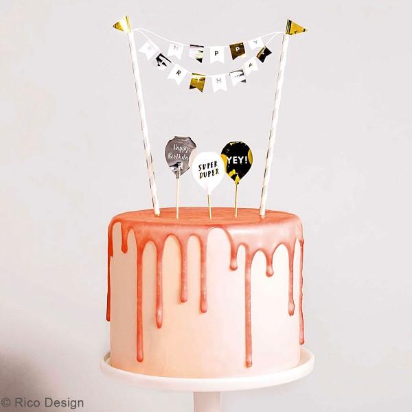 Décoration de gâteau - Anniversaire doré et argenté - 6 pcs - Photo n°2