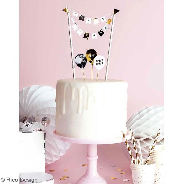 Décoration de gâteau - Anniversaire doré et argenté - 6 pcs - Photo n°3