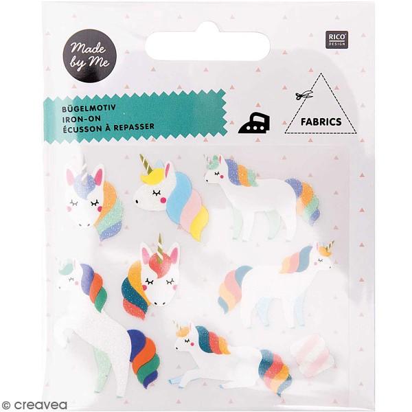Écussons thermocollants - Licornes multicolores - 8 pcs - Photo n°1