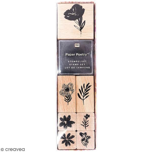 Lot de tampons Nature - Fleurs - 7 tampons et 1 encreur - Photo n°1