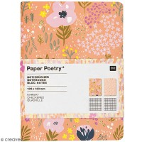 Petits carnets de notes A6 - Nature - Rose - 10,5 x 14 cm - 2 pcs