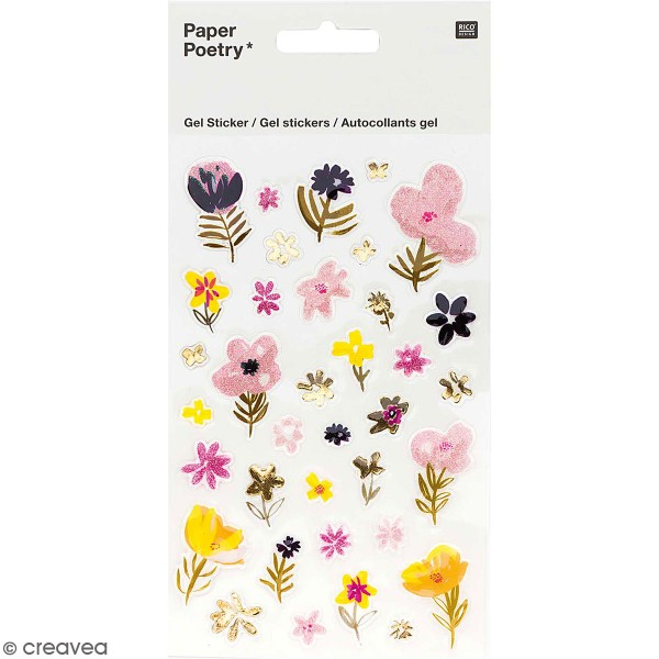 Stickers gel Rico Design - Nature - Rose - 35 pcs - Photo n°1