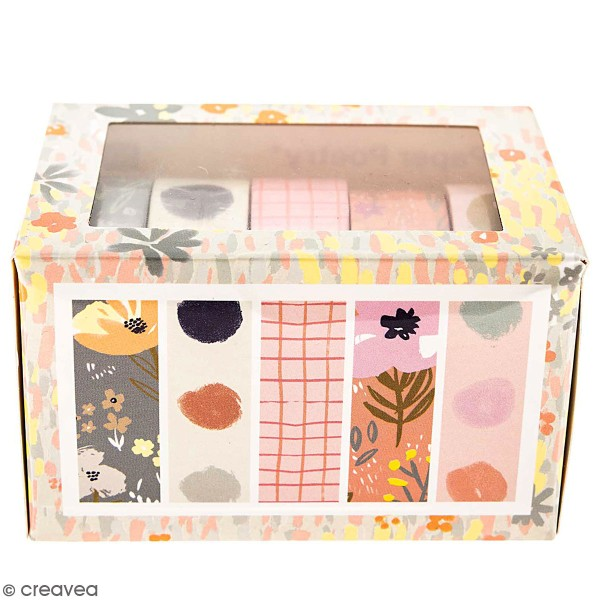 Set de masking tape - Nature - 1,5 cm x 10 m - 5 pcs - Photo n°1
