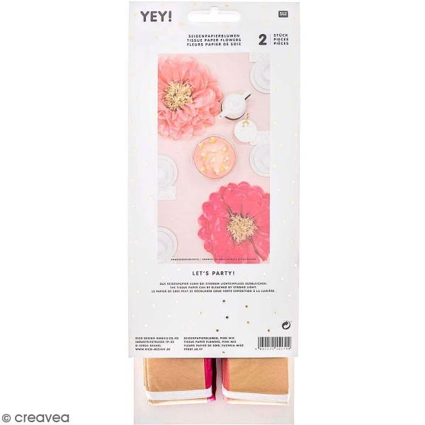 Fleurs en papier de soie - Fuchsia - 45cm de diamètre - 2 pcs - Photo n°1