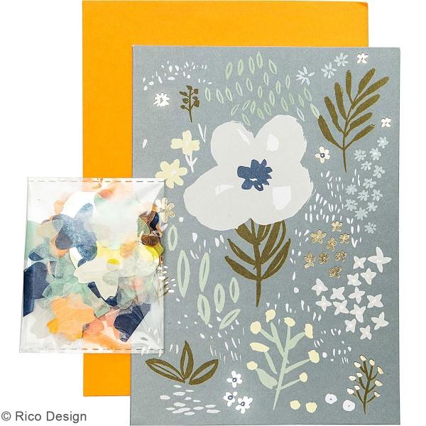 Kit carte à personnaliser - Rico Design Nature - Bleu - 12,5 x 17,5 cm - Photo n°2