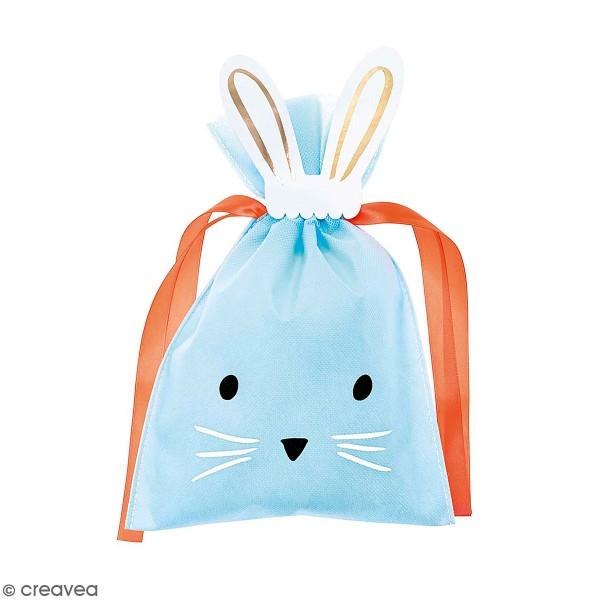 Petit Sac Cadeau en tissu Bleu - Lapin - 20 x 30 cm - Photo n°1