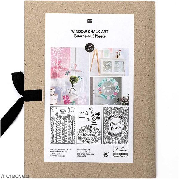 Modèles pour décoration de surfaces vitrées - Fleurs et Plantes - 60 x 86 cm - 3 designs - Photo n°1