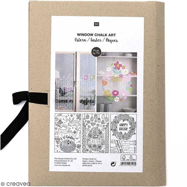 Modèles pour décoration de surfaces vitrées - Pâques - 60 x 86 cm - 3 designs - Photo n°1