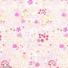 Coupon de tissu Toile coton - Champ de fleurs rose détails Fluo - Fond Blanc - 50 x 140 cm