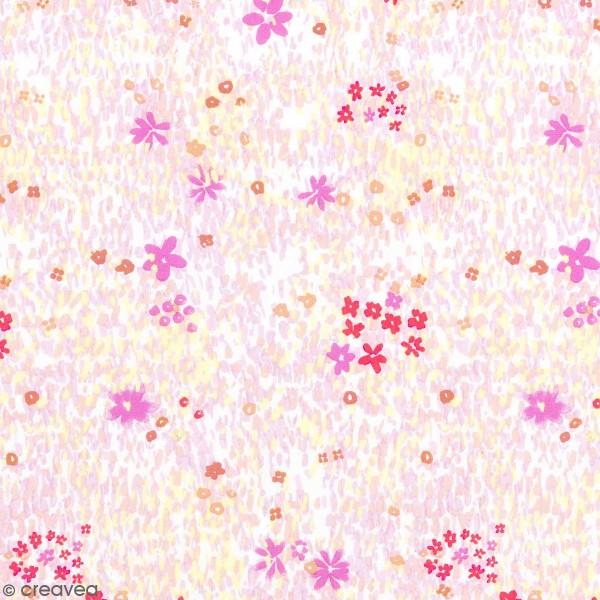 Coupon de tissu Toile coton - Champ de fleurs rose détails Fluo - Fond Blanc - 50 x 140 cm - Photo n°1