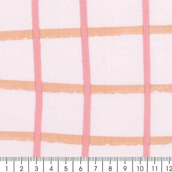 Coupon de tissu Toile coton - Carreaux roses - Fond  - 50 x 140 cm - Photo n°2