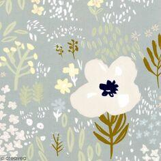 Coupon de tissu Toile coton - Fleurs détails Métallisés - Fond Gris - 50 x 140 cm
