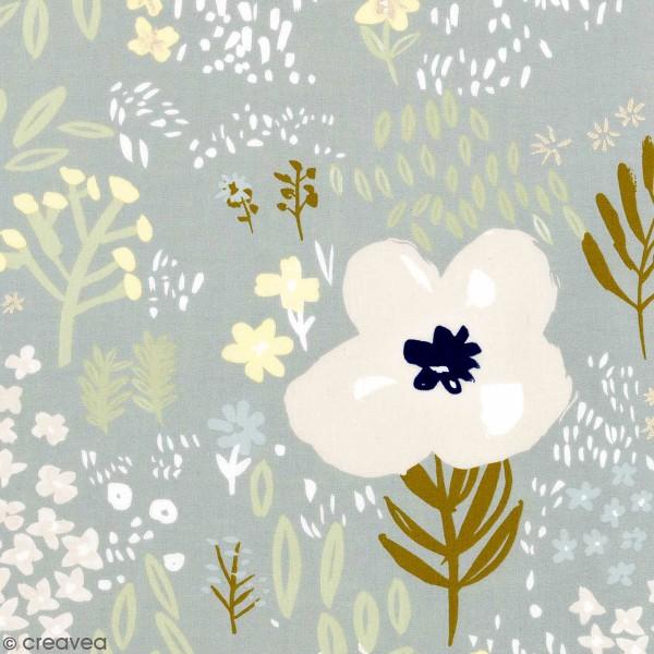 Coupon de tissu Toile coton - Fleurs détails Métallisés - Fond Gris - 50 x 140 cm - Photo n°1