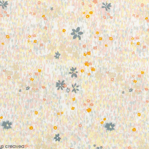 Coupon de tissu Toile coton , Champs de fleurs pastel détails Métallisés ,  Fond Blanc , 50 x 140 cm