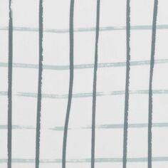 Coupon de tissu Toile coton - Carreaux bleus - Fond Gris - 50 x 140 cm
