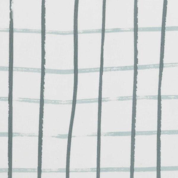 Coupon de tissu Toile coton - Carreaux bleus - Fond Gris - 50 x 140 cm - Photo n°1