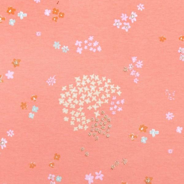 Coupon de tissu jersey - Petites fleurs détails Pailletés - Fond rose - 70 x 100 cm - Photo n°1