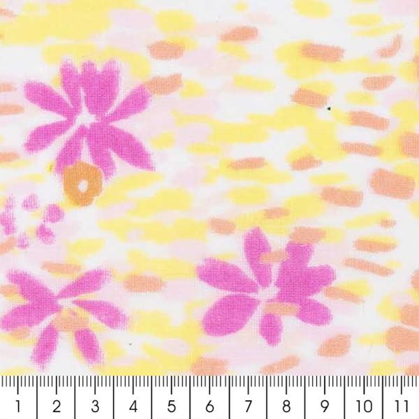 Tissu Coton léger à la coupe - Fleurs roses et jaunes sur fond Blanc - Détails Fluo - Par 10 cm - Photo n°2
