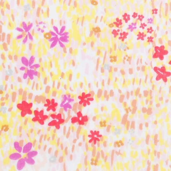 Tissu Coton léger à la coupe - Fleurs roses et jaunes sur fond Blanc - Détails Fluo - Par 10 cm - Photo n°1