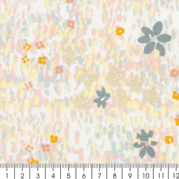 Tissu Coton léger à la coupe - Fleurs pastel sur fond Gris clair - Détails Métallisés - Par 10 cm - Photo n°2