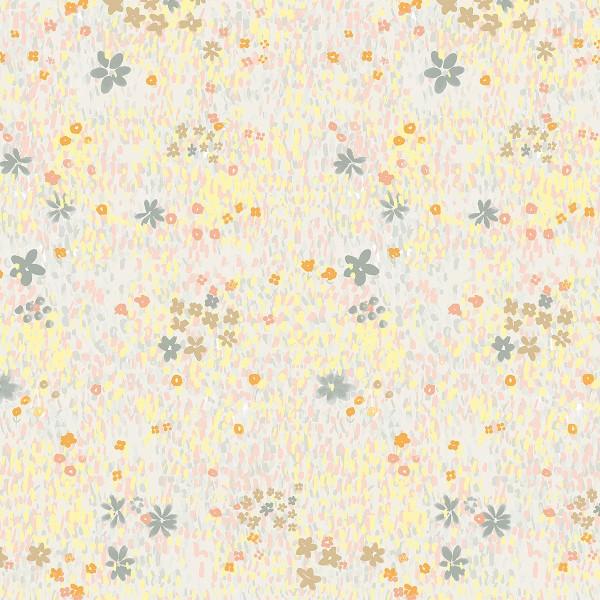Tissu Coton léger à la coupe - Fleurs pastel sur fond Gris clair - Détails Métallisés - Par 10 cm - Photo n°1