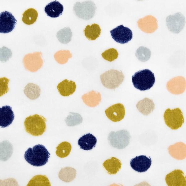 Tissu Coton léger à la coupe - Gros points sur fond Gris clair - Détails Métallisés - Par 10 cm - Photo n°1