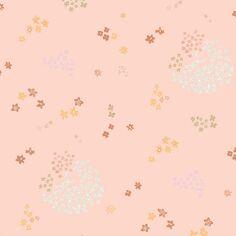 Coupon de tissu Toile cirée - Fleurs roses sur fond Rose pâle - Détails Métallisés - 25 x 70 cm
