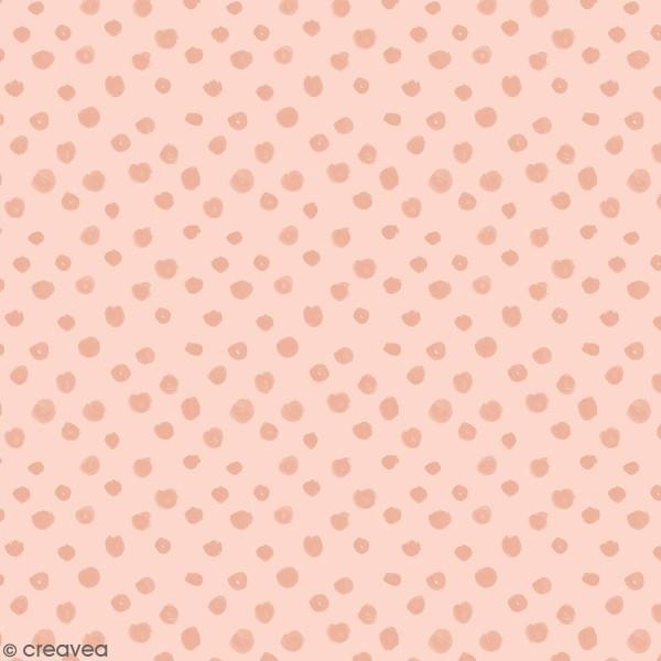 Tissu Molleton sweat à la coupe - Points Métallisés sur fond Rose - Par 10 cm - Photo n°1