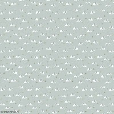 Coupon de tissu jersey - Eléphants détails Métallisés - Fond Bleu gris - 70 x 100 cm