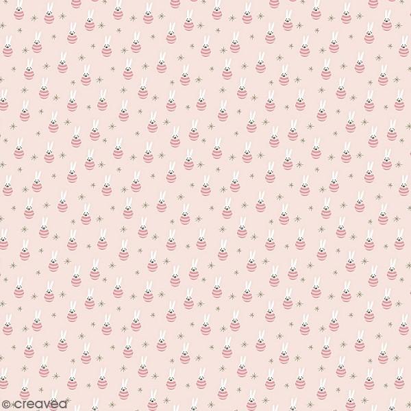 Coupon de tissu jersey - Lièvre détails Métallisés - Fond Rose pâle - 70 x 100 cm - Photo n°1