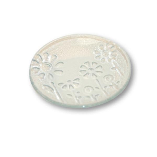 Assiette en verre estampée Fleurs à décorer Ø 12,5 cm - Photo n°1